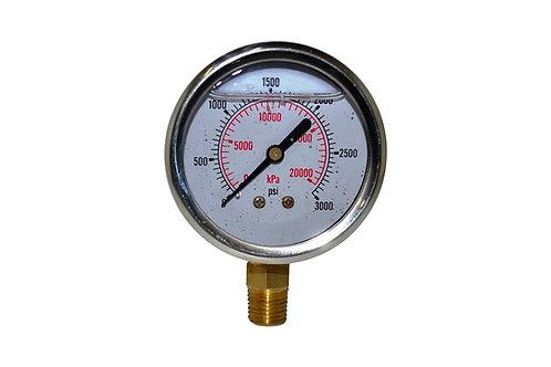 "Liquid Filled Pressure Gauge - 2-1/2"" 0 to 3000 PSI - 1/4"" NPT - Dual Scale"