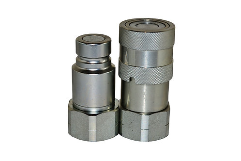 """Hydraulic Quick Coupler - ISO 16028 Flat Face 1/2"""" Coupler/Plug x 3/4"""" ORB"""