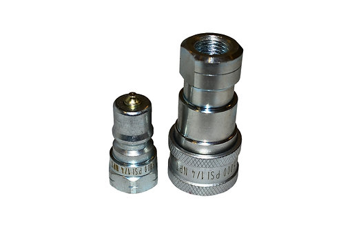 """Hydraulic Quick Coupler - ISO 7241-1 B - 1/4"""" NPT - Complete Set - IRB Series"""