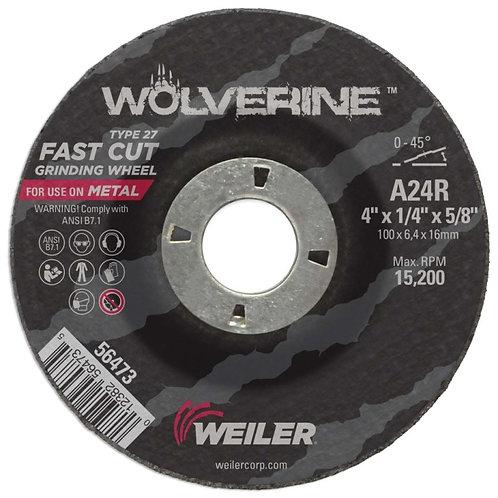 "Grinding Wheel - Wolverine - Type 27 - 4"" x 1/4"" - 5/8"" Arbor - A24R 24 Grit"