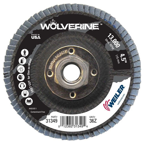 "Wolverine Abrasive - Flap Disc - 4-1/2"" x 5/8"" -11 UNC - Conical Type 29 36 Grit"