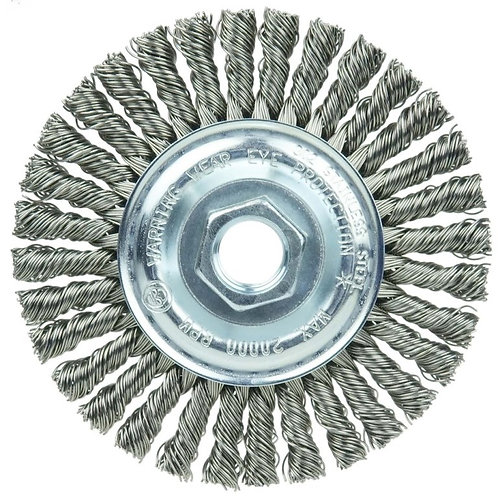 "Knot Wire Wheel Brush - 4"" - .020"" SS  Fill - 5/8"" -11 UNC- Stringer Bead Twist"