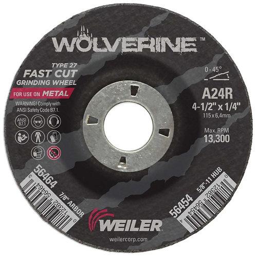 "Grinding Wheel - Wolverine - Type 27 - 4-1/2"" x 1/4"" - 7/8"" Arbor - A24R 24 Grit"