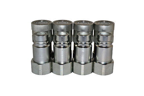 """Hydraulic Quick Coupler - ISO 16028 Flat Face 1/2"""" x 1/2"""" NPT - Complete Set 4PK"""