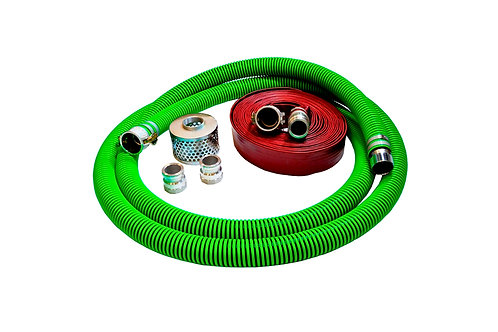 """EPDM Rubber Suction Hose - 1-1/2"""" x 20' - Conventional Kit - 25' Red Discharge"""