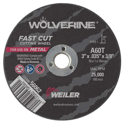 """Cutting Wheel - Wolverine - Type 1 - 3"""" x .035"""" - 3/8"""" Arbor - A60T 60 Grit"""