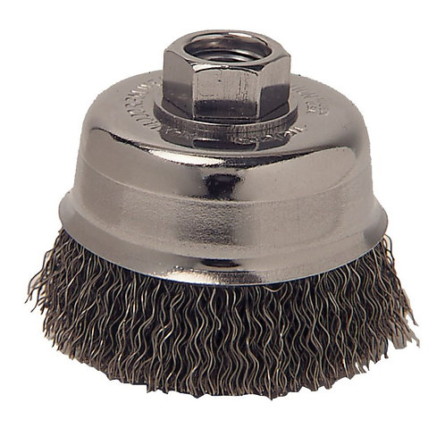 """Crimped Wire Cup Brush - Wolverine - 3"""" - .014"""" Steel Fill - 5/8"""" -11 UNC Nut"""