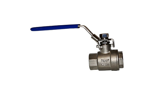 "Ball Valve - Full Port - 1/2"" - 2 Piece - Stainless Steel"
