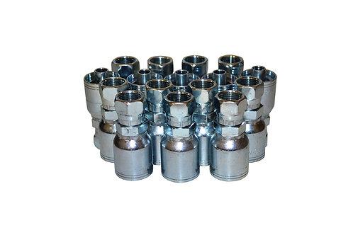 "Hydraulic Crimp Fitting - 1/2"" Female JIC x 1/2"" Hose Barb - C202 - 16 Pack"