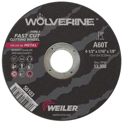 """Cutting Wheel - Wolverine - Type 1 - 4-1/2"""" x 1-1/16"""" - 7/8"""" Arbor -A60T 60 Grit"""