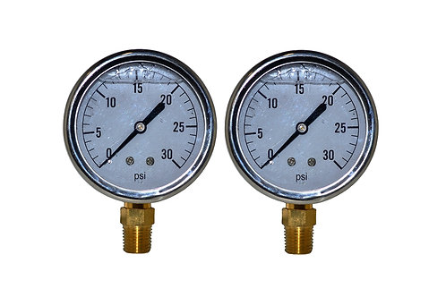 "Liquid Filled Pressure Gauge - 2-1/2"" 0 to 30 PSI - 1/4"" NPT - Single Scale 2 PK"