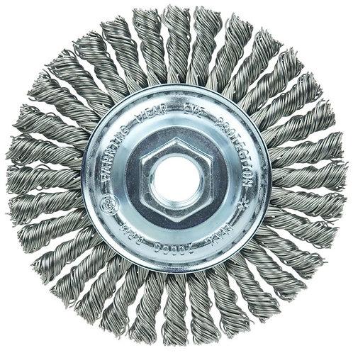 "Knot Wire Wheel Brush - 4"" - .020"" Steel Fill 5/8"" -11 UNC - Stringer Bead Twist"