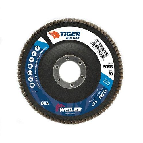 "Big Cat Abrasive - Flap Disc - 4-1/2"" x 7/8"" - High Density Type 27 - 80 Grit"