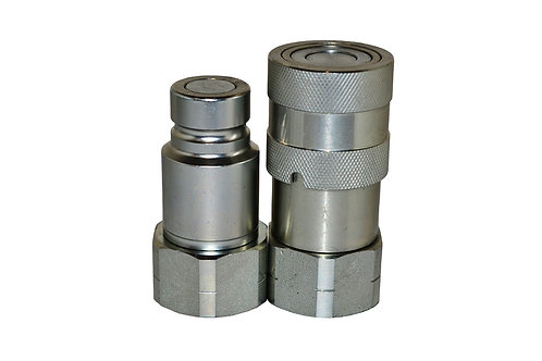 """Hydraulic Quick Coupler - ISO 16028 - Flat Face - 1/2"""" x 3/4"""" NPT - Complete Set"""