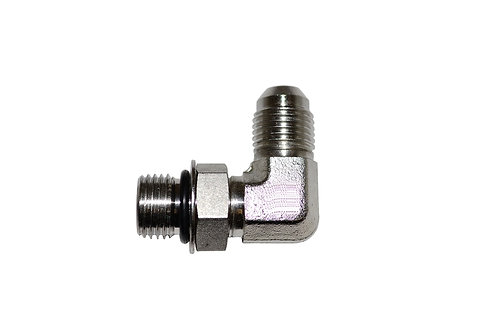 "Hydraulic Adapter - 90° Elbow - 3/8"" Male JIC x 3/8"" Male ORB - Stainless Steel"