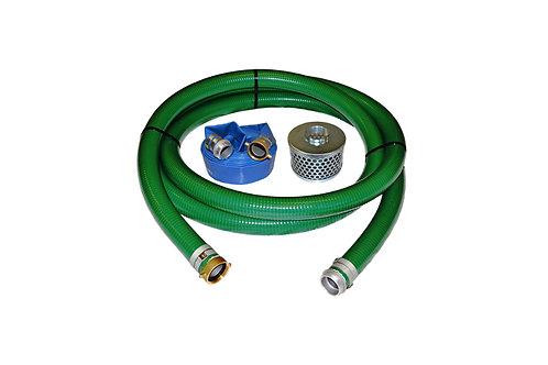 "PVC Green Standard Suction Hose - 3"" x 20' - Pin Lug Kit - 50' Blue Discharge"