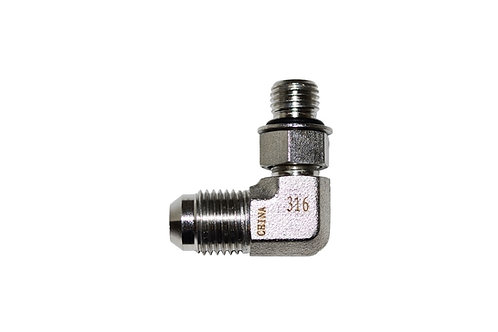 """Hydraulic Adapter - 90° Elbow - 3/8"""" Male JIC x 1/4"""" Male ORB - Stainless Steel"""