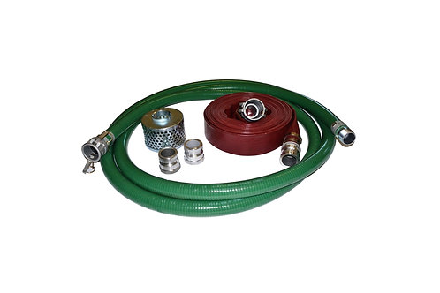 """PVC Green Suction Hose - 1-1/2"""" x 20' - Conventional Kit - 75' Red Discharge"""