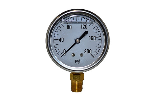 "Liquid Filled Pressure Gauge - 2-1/2"" 0 to 200 PSI - 1/4"" NPT - Single Scale"