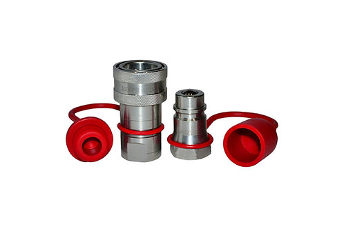 """Hydraulic Quick Coupler - Agricultural - 1/2"""" NPT - With Cap and Plug - ISO 5675"""