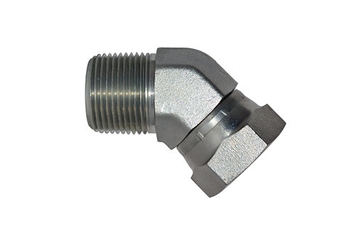 """Hydraulic Adapter - 45° Elbow - 1/2"""" MPT x 1/2"""" Female Pipe Swivel -Plated Steel"""