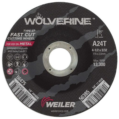 "Cutting Wheel - Wolverine - Type 27 - 4-1/2"" x 3/32"" - 7/8"" Arbor -A24T 24 Grit"