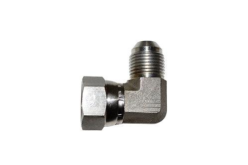 "Hydraulic Adapter 90° Elbow - 1/2"" Male JIC x 1/2"" Female JIC Swivel - Stainless"