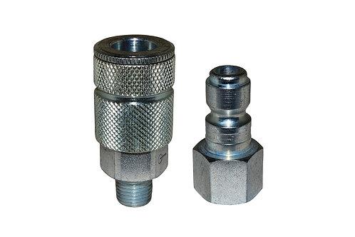 """Automotive Tru-Flate - 3/8"""" Coupler - 3/8"""" Plug - 1/4"""" Pipe Threads"""