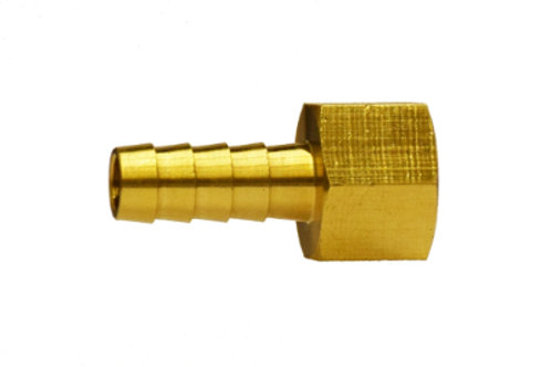 "Hose Barb Fitting - Rigid Female Adapter - 1/4"" Hose I.D. x 1/4"" FPT - Brass"
