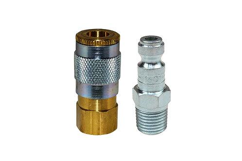 "Automotive Tru-Flate - 1/4"" Female Coupler - 1/4"" Male Plug - 3/8"" Pipe Threads"