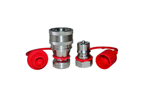 """Hydraulic Quick Coupler - ISO 7241-1 B - 1/4"""" NPT - Complete Set with Cap & Plug"""