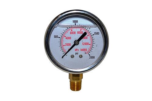 "Liquid Filled Pressure Gauge - 2-1/2"" 0 to 2000 PSI - 1/4"" NPT - Dual Scale"