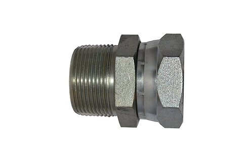 """Hydraulic Male Pipe Adapter - 3/8"""" MPT x 3/8"""" Female Pipe Swivel - Plated Steel"""