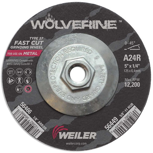 "Grinding Wheel - Wolverine - Type 27 - 5"" x 1/4"" - 5/8"" -11 UNC - A24R 24 Grit"