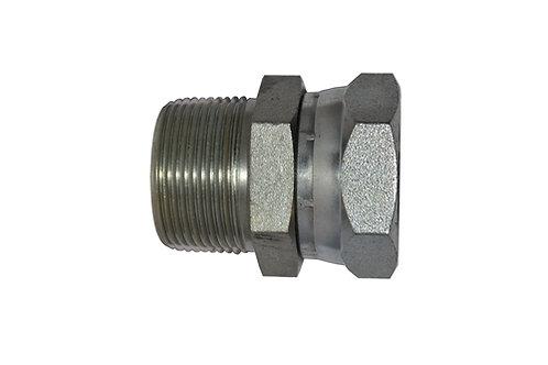 "Hydraulic Male Pipe Adapter - 3/8"" MPT x 3/8"" Female Pipe Swivel - Steel"