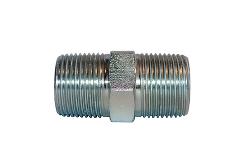 """Hydraulic Adapter - Hex Nipple - 1/4"""" MPT x 1/4"""" MPT - Plated Steel - 20 Pack"""