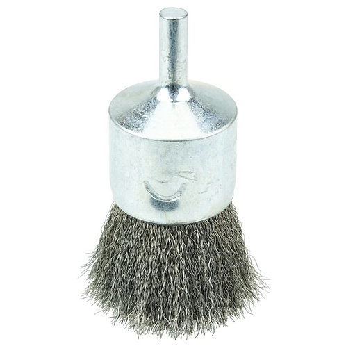 """Crimped Wire End Brush - 1"""" - .0104"""" Stainless Steel Fill - 10022"""