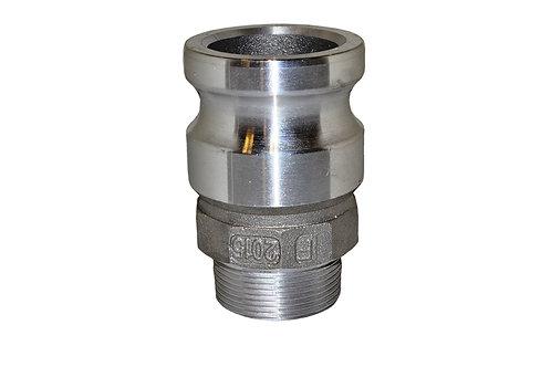 """Jumpsize Camlock - 2"""" Male Camlock Reducer x 1-1/2"""" Male Pipe - Aluminum - 2015F"""