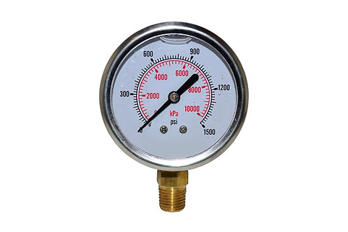 "Liquid Filled Pressure Gauge - 2-1/2"" 0 to 1500 PSI - 1/4"" NPT - Dual Scale"