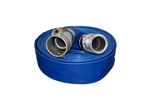 """Water Discharge Hose - 1-1/2"""" x 100 FT - Camlocks - Blue"""