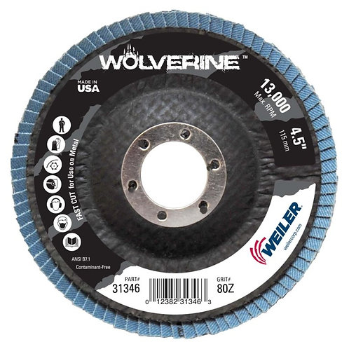 """Wolverine Abrasive - Flap Disc - 4-1/2"""" x 7/8"""" - Conical Type 29 - 80 Grit"""