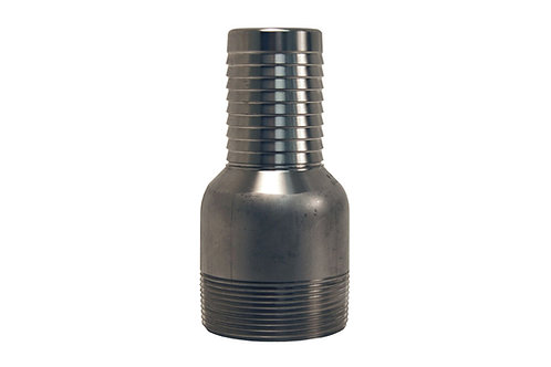 """Jump Size King Combination Nipple - 1-1/2"""" Hose Shank x 2"""" MPT - Plated Steel"""