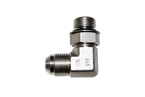 """Hydraulic Adapter - 90° Elbow - 1/2"""" Male JIC x 1/2"""" Male ORB - Stainless Steel"""