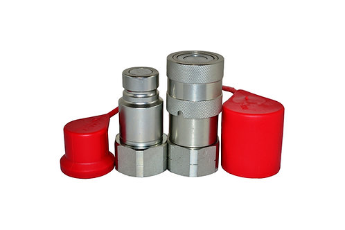 """Hydraulic Quick Coupler - ISO 16028 Flat Face - 1/2"""" x 3/4"""" NPT - With Dust Caps"""