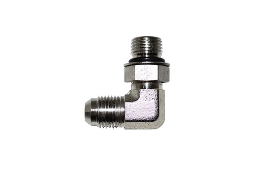 """Hydraulic Adapter - 90° Elbow - 3/8"""" Male JIC x 3/8"""" Male ORB - Stainless Steel"""