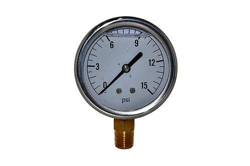 "Liquid Filled Pressure Gauge - 2-1/2"" 0 to 15 PSI - 1/4"" NPT - Single Scale"