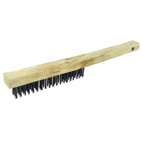 """Vortec Pro Scratch Brush - .012"""" Carbon Steel Fill - Curved Handle - 3 x 19 Rows"""