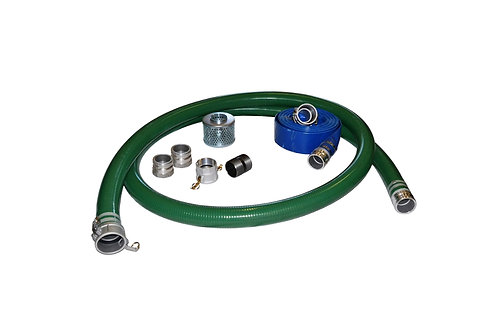 "PVC Green Standard Suction Hose - 2"" x 20' - Fits Honda - 100' Blue Discharge"