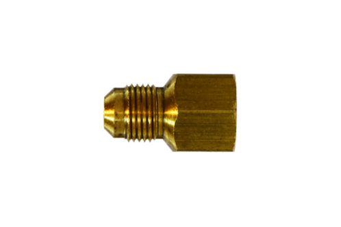 """SAE 45° Flare Fitting - Female Adapter - 3/8"""" Male Flare x 1/4"""" FPT - Brass"""