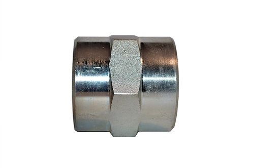 """Hydraulic Adapter - Pipe Coupler - 3/8"""" FPT x 3/8"""" FPT - Plated Steel"""